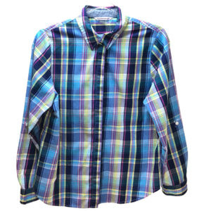 Allison Daley Button Down Blue Checkered Size 10